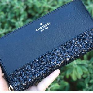 kate spade greta court neda glitter zip wallet